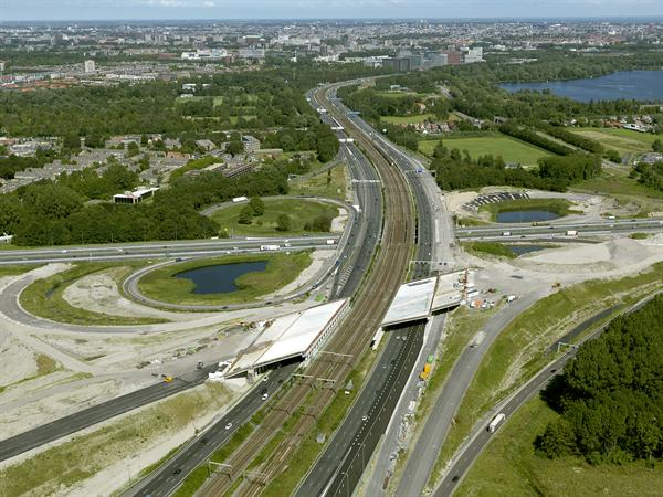 Luchtfoto 14 augustus 2016: project Omlegging A9 Badhoevedorp.