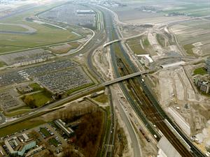 Luchtfoto 2 april 2016: project Omlegging A9 Badhoevedorp.